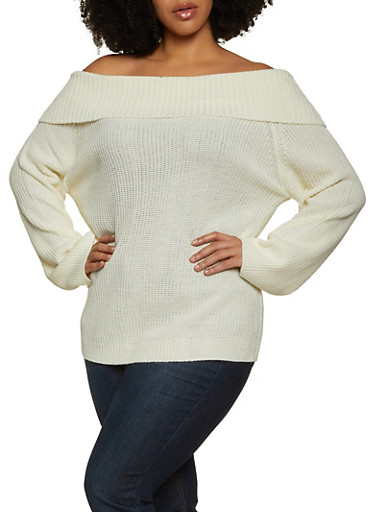 Plus Size Off the Shoulder Long Sleeve Sweater,IVORY,large