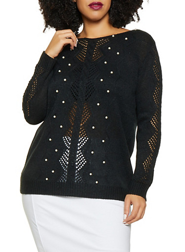 Plus Size Faux Pearl Pointelle Sweater,BLACK,large