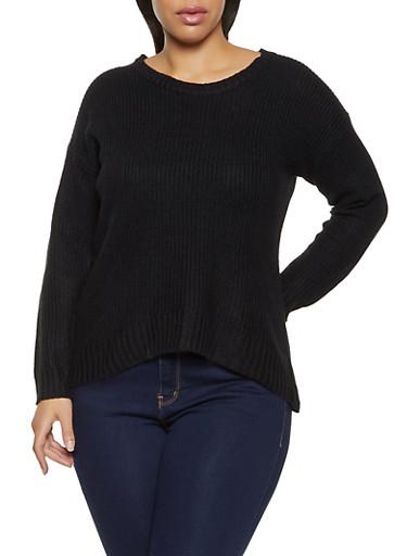 Plus Size Long Sleeve Sweater,BLACK,large