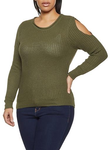 Plus Size Slit Sleeve Sweater,OLIVE,large