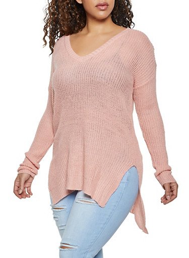 Plus Size O Ring Caged Back Sweater,TAN,large