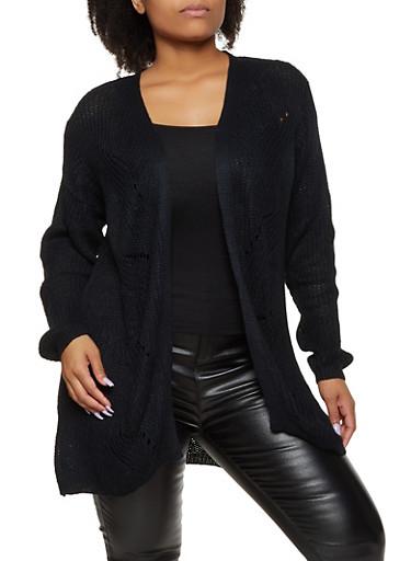 Plus Size Braided Detail Cardigan,BLACK,large
