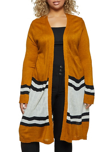 Plus Size Stripe Detail Duster,MUSTARD,large
