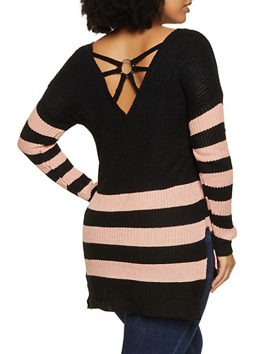 Plus Size Striped Caged Back Sweater,BLACK,large