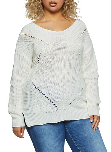 Plus Size Caged Back Perforated Detail Sweater,IVORY,large