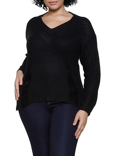 Plus Size Distressed V Neck Sweater,BLACK,large