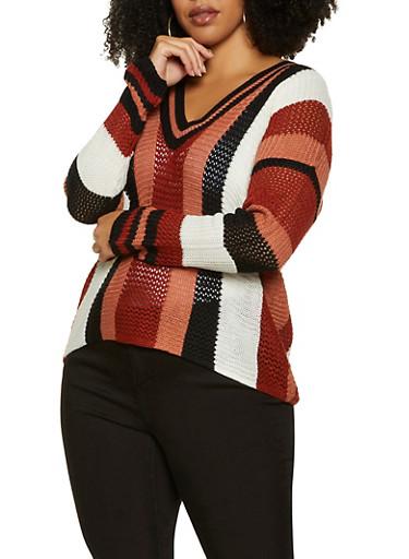 Plus Size V Neck Striped Knit Sweater,IVORY,large