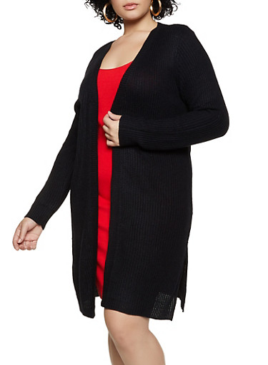 Plus Size Open Front Slit Side Knit Duster,BLACK,large