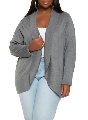 Plus Size Soft Knit Cardigan,GRAY,large