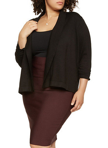 Plus Size Ruched Sleeve Cardigan | Tuggl