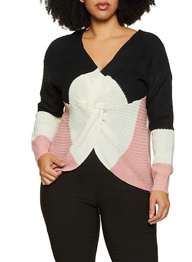 Plus Size Striped Twist Front Sweater,BLACK,large