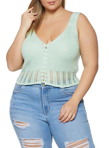 Plus Size Lace Up Crochet Detail Tank Top