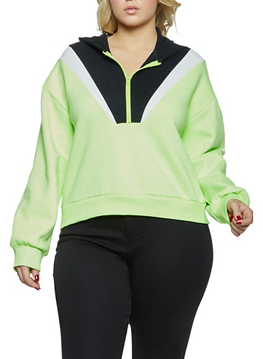 Plus Size Color Block Hooded Sweatshirt,BLACK,large