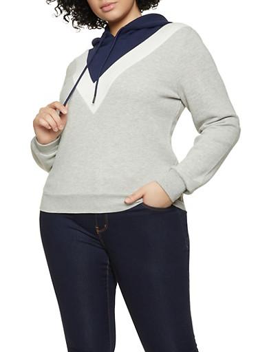Plus Size Chevron Hooded Sweatshirt,NAVY,large