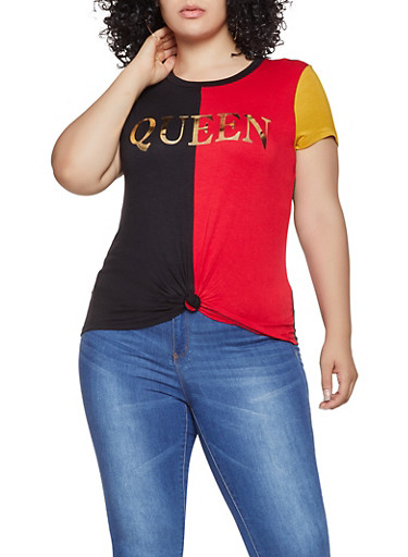 Plus Size Queen Graphic Color Block Tee,RED,large