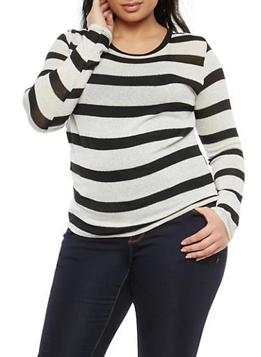 Plus Size Stripe Shimmer Knit Top,BLACK/WHITE,large