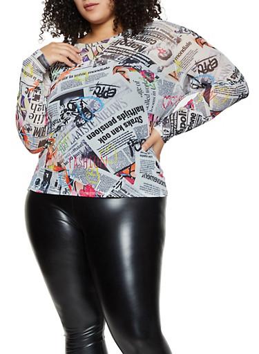 Plus Size Newspaper Print Long Sleeve Mesh Top,MULTI COLOR,large