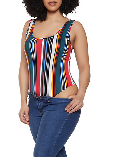Plus Size Striped Thong Bodysuit,MULTI COLOR,large