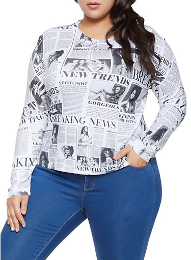 Plus Size Newspaper Print Top,BLACK/WHITE,large