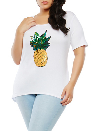 Plus Size Sequined Pineapple Graphic Top,WHITE,large