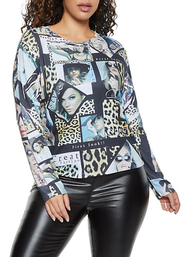 Plus Size Chic Graphic Long Sleeve Top,BROWN,large