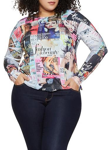 Plus Size Magazine Print Long Sleeve Top,MULTI COLOR,large