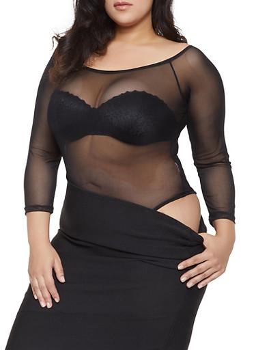 Plus Size Mesh Bodysuit,BLACK,large