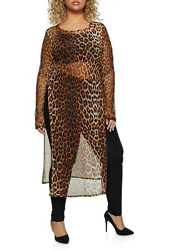 Plus Size Mesh Long Sleeve Maxi Top,BROWN,large