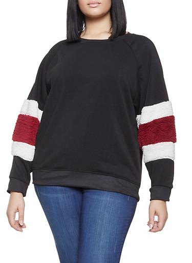 Plus Size Striped Sherpa Trim Sweatshirt,BLACK,large
