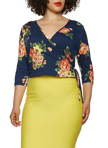 Plus Size Floral Soft Knit Wrap Top,NAVY,large