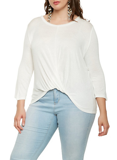 Plus Size Twist Front Top,WHITE,large