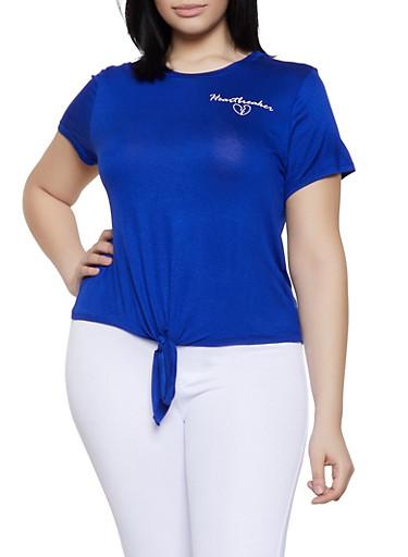 Plus Size Heartbreaker Tie Front Tee,RYL BLUE,large