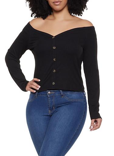 Plus Size Off the Shoulder Faux Button Top,BLACK,large