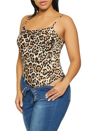 Plus Size Leopard Print Bodysuit,BROWN,large