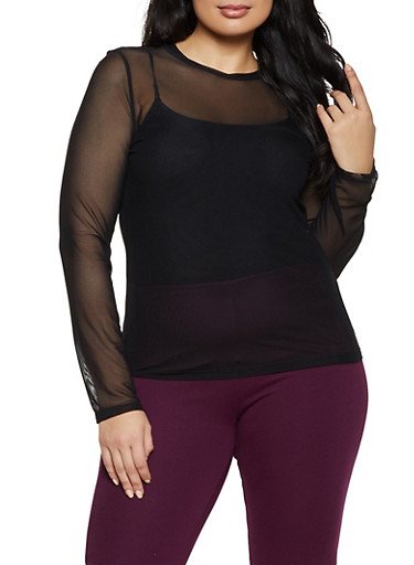 Plus Size Mesh Long Sleeve Top,BLACK,large