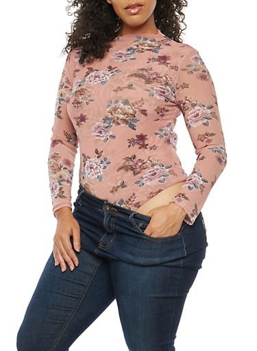 Plus Size Floral Mesh Bodysuit,MAUVE,large