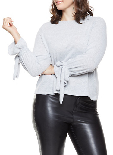 Plus Size Brushed Knit Tie Sleeve Sweater,HEATHER,large