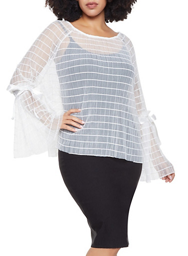 Plus Size Pleated Mesh Top,WHITE,large