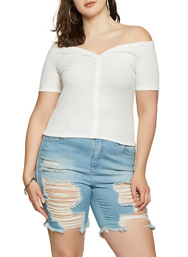 Plus Size Button Off the Shoulder Top,IVORY,large