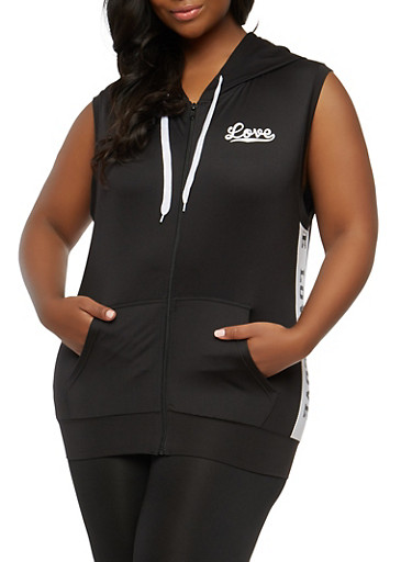 Plus Size Love Graphic Hooded Zip Top,BLACK,large