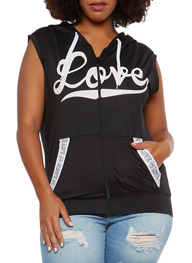 Plus Size Love Graphic Hooded Activewear Top,BLACK,large