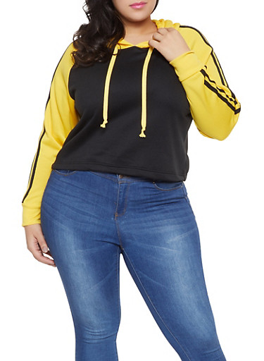 Plus Size Hooded Color Block Sweatshirt,BLACK,large