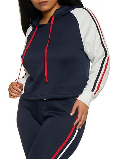 Plus Size Hooded Color Block Sweatshirt,NAVY,large