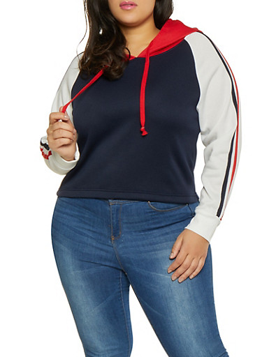 Plus Size Hooded Color Block Sweatshirt,RED,large