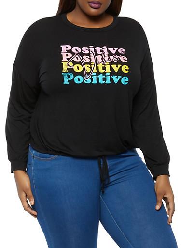 Plus Size Positive Vibes Top,BLACK,large
