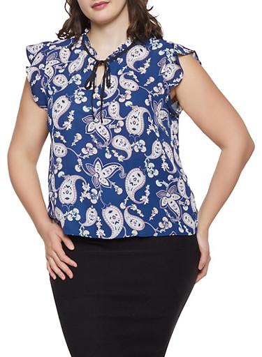 Plus Size Paisley Print Tie Neck Blouse,NAVY,large