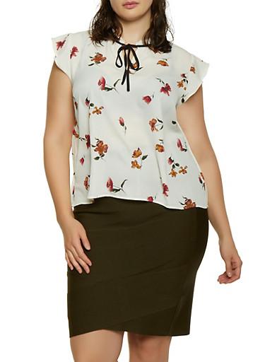 Plus Size Floral Tie Neck Blouse | 1925054211414,IVORY,large