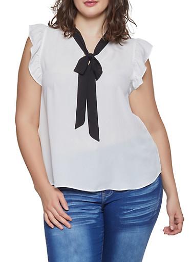 Plus Size Tie Neck Flutter Sleeve Blouse,WHT-BLK,large