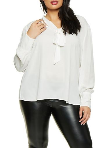 Plus Size Tie Neck Blouse,WHITE,large
