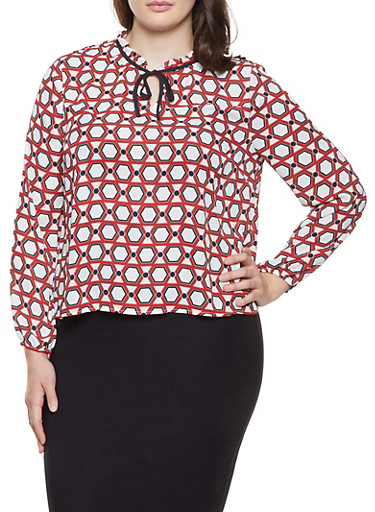 Plus Size Printed Tie Neck Long Sleeve Blouse,IVORY,large